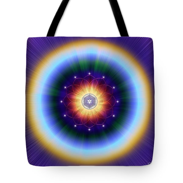 Tote Bag featuring the digital art Sacred Geometry 724 by Endre Balogh