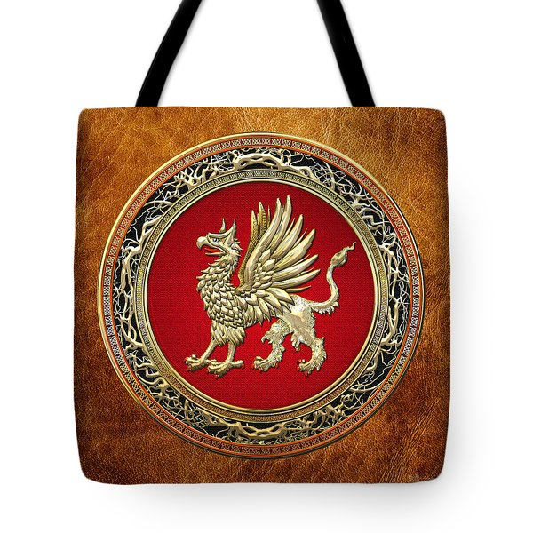 Sacred Golden Griffin On Brown Leather Tote Bag