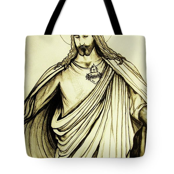 Tote Bag featuring the drawing Sacred Heart by Mary Ellen Frazee