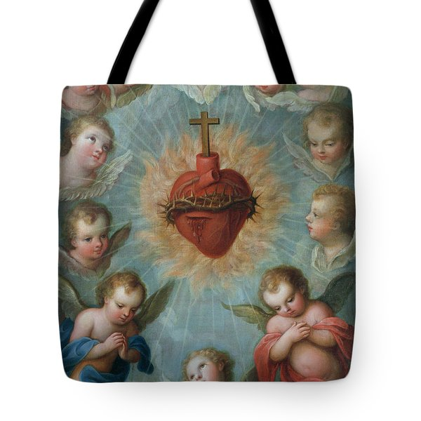 Sacred Heart Of Jesus Surrounded By Angels Tote Bag