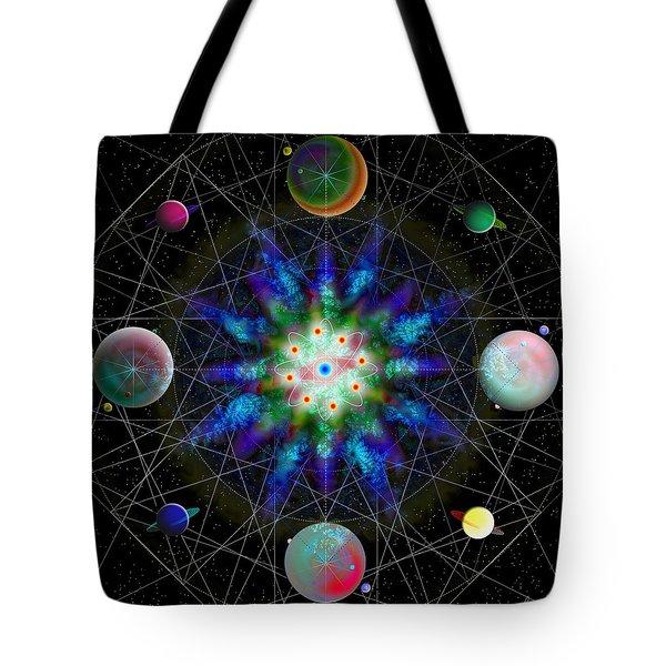 Tote Bag featuring the digital art Sacred Planetary Geometry - Blue Atom Dark by Iowan Stone-Flowers