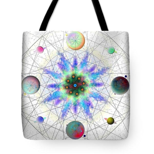 Tote Bag featuring the digital art Sacred Planetary Geometry - Blue Atom Light by Iowan Stone-Flowers