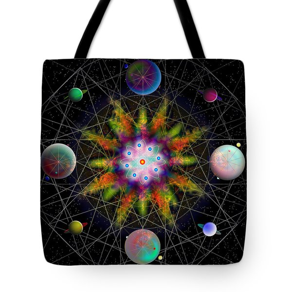 Sacred Planetary Geometry - Dark Red Atom Tote Bag by Iowan Stone-Flowers