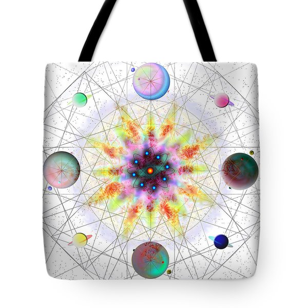 Tote Bag featuring the digital art Sacred Planetary Geometry - Red Atom Light by Iowan Stone-Flowers