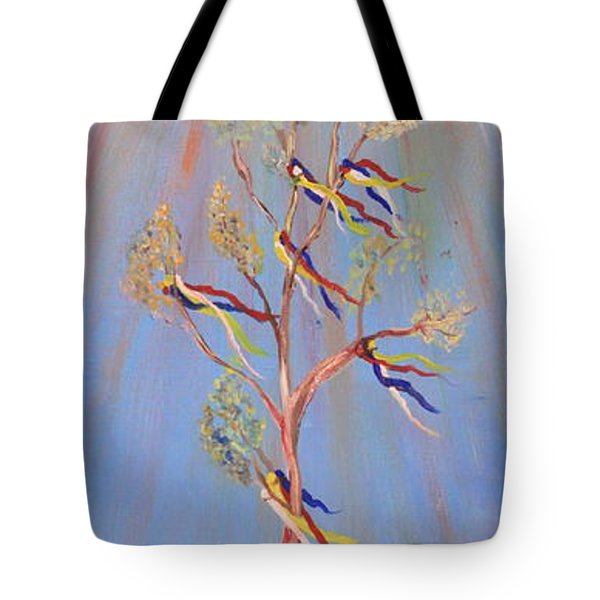 Sacred Sun Dance Tree Tote Bag by Kate Purdy