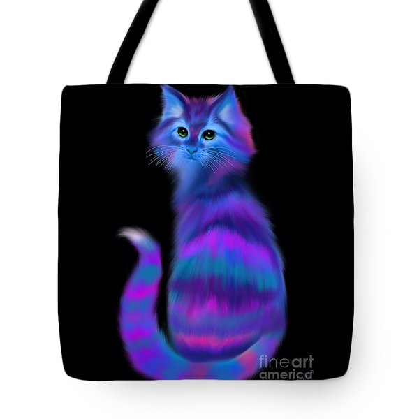 Tote Bag featuring the painting Sad Eyed Colorful Cat by Nick Gustafson