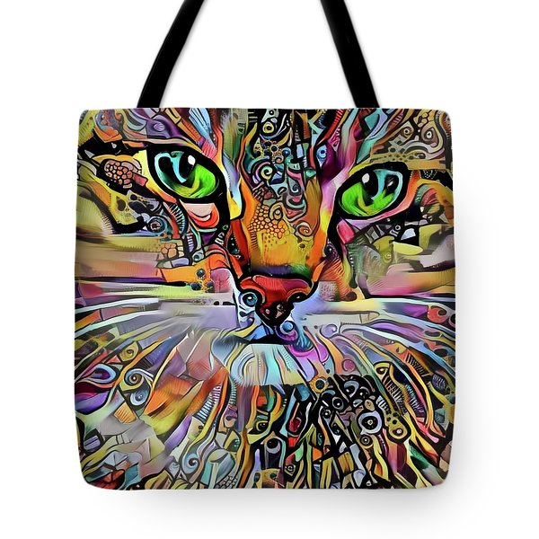Sadie The Colorful Abstract Cat Tote Bag