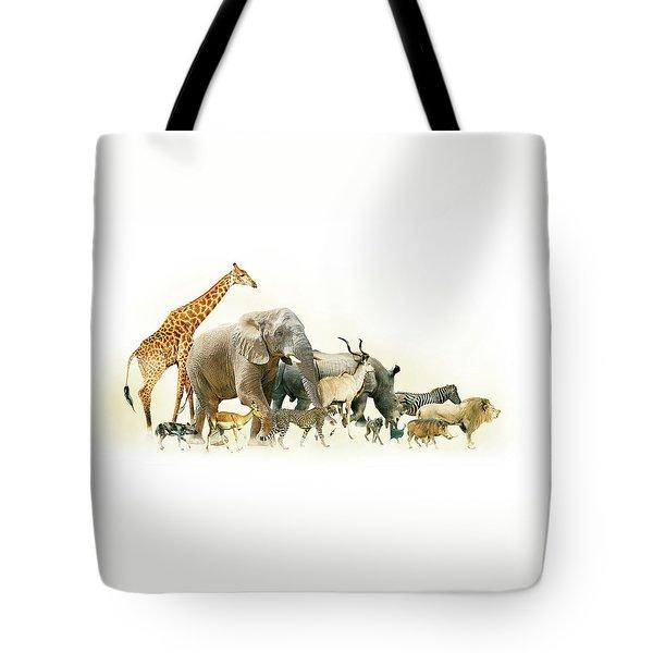 Safari Animals Walking Side Horizontal Banner Tote Bag
