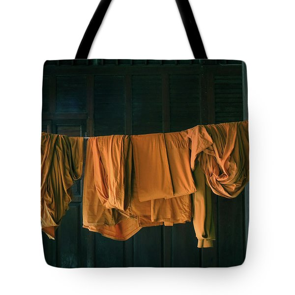 Tote Bag featuring the photograph Saffron Robes by Jeremy Holton