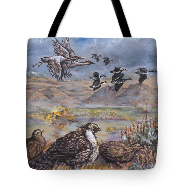 Sage Grouse Watch The Migration Tote Bag by Dawn Senior-Trask