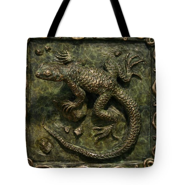 Tote Bag featuring the sculpture Sagebrush Lizard by Dawn Senior-Trask