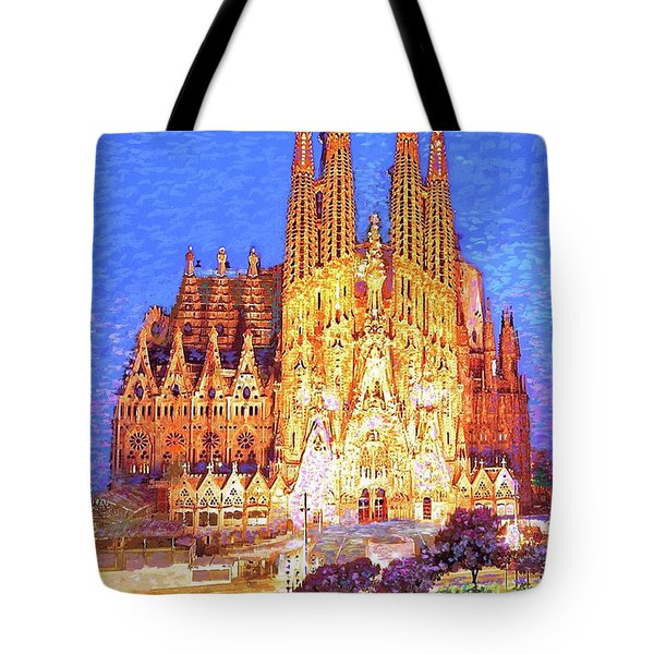 Tote Bag featuring the painting Sagrada Familia At Night by Jane Small