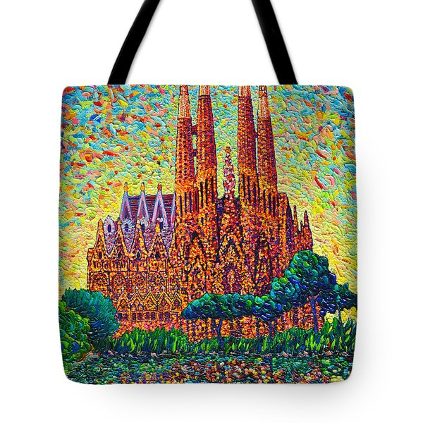 Sagrada Familia Barcelona Modern Impressionist Palette Knife Oil Painting By Ana Maria Edulescu Tote Bag by Ana Maria Edulescu