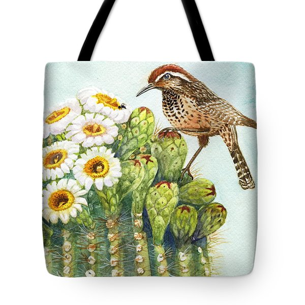 Tote Bag featuring the painting Saguaro And Cactus Wren by Marilyn Smith