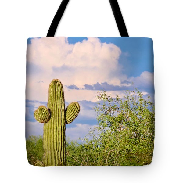 Saguaro And Mesquite In Monsoon Season Tote Bag