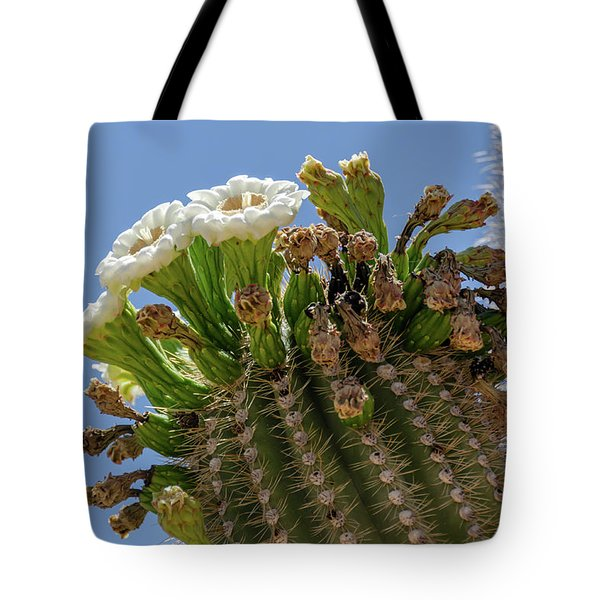 Tote Bag featuring the photograph Saguaro Blooms by Gaelyn Olmsted
