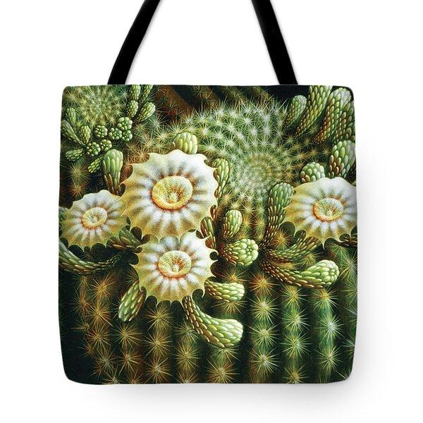 Saguaro Cactus Blossoms Tote Bag by James Larkin