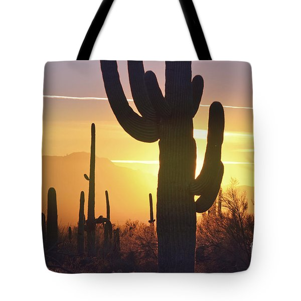 Saguaro Cactus Golden Sunset Mountain Tote Bag by Andrea Hazel Ihlefeld
