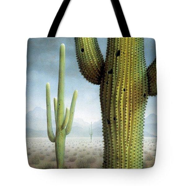 Saguaro Cactus Landscape Tote Bag by James Larkin