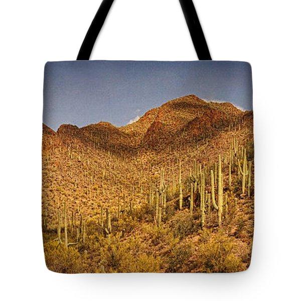 Saguaro Hillsides Text Tote Bag