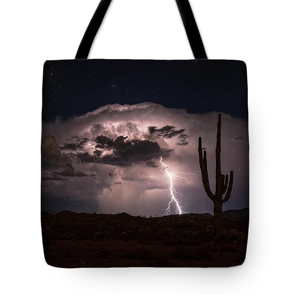 Tote Bag featuring the photograph Saguaro Lit Up By The Lightning  by Saija Lehtonen