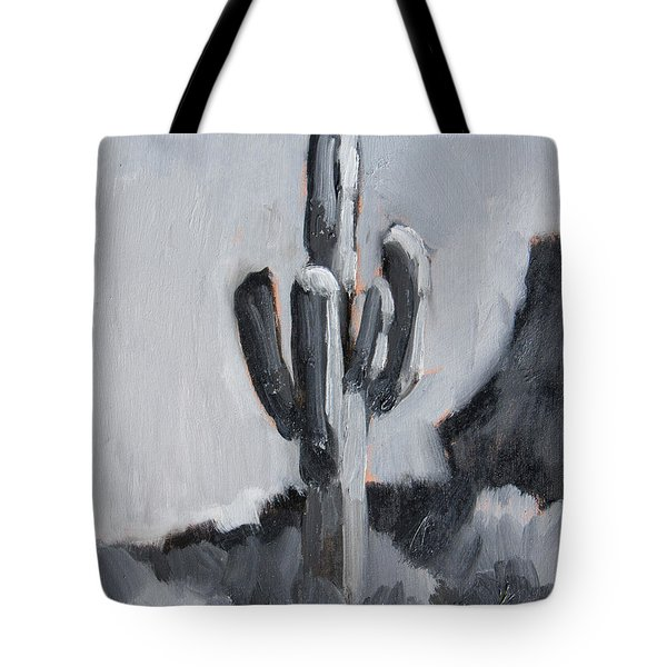 Tote Bag featuring the painting Saguaro Plein Air Study by Diane McClary