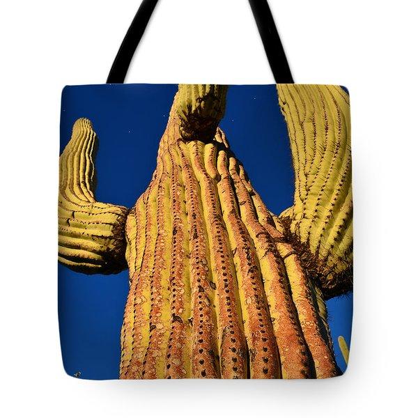 Saguaro Reaching To The Sky Tote Bag by John Hoffman