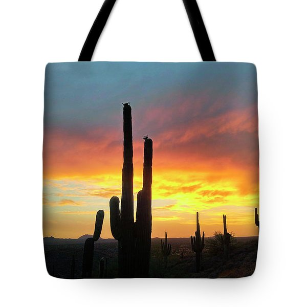 Tote Bag featuring the photograph Saguaro Sunset by Anthony Citro
