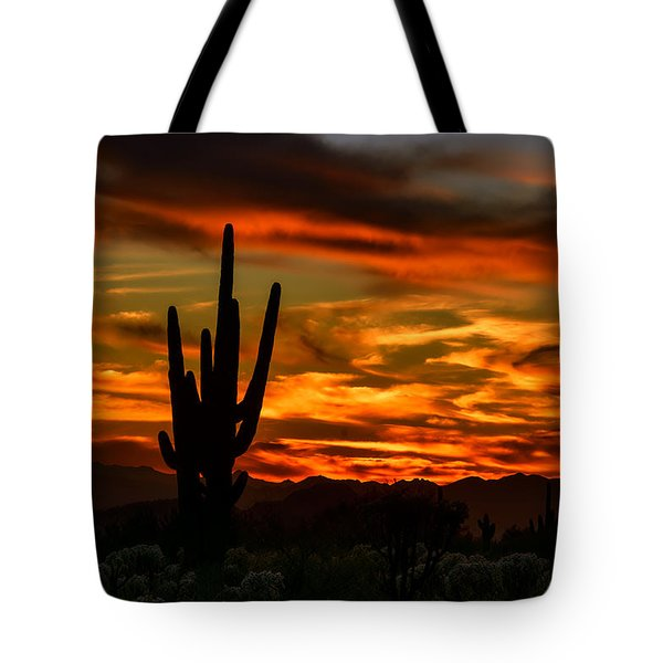 Tote Bag featuring the photograph Saguaro Sunset H51 by Mark Myhaver