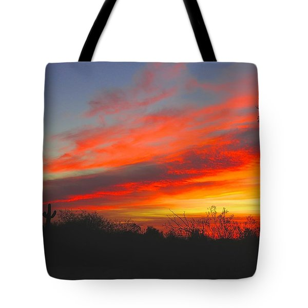 Saguaro Winter Sunrise Tote Bag