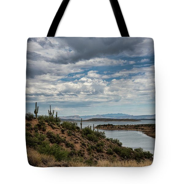 Tote Bag featuring the photograph Saguaro With A Lake View  by Saija Lehtonen