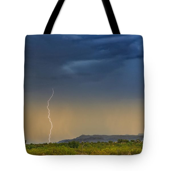 Saguaro With Lightning Tote Bag