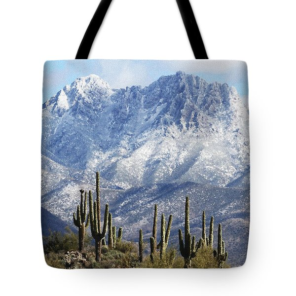 Saguaros At Four Peaks With Snow Tote Bag by Tom Janca