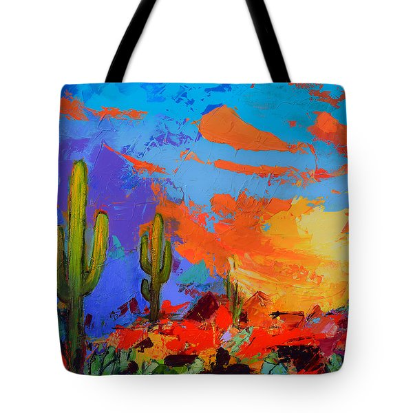 Saguaros Land Sunset By Elise Palmigiani - Square Version Tote Bag by Elise Palmigiani