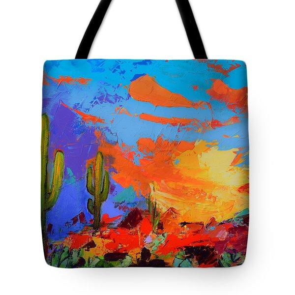 Saguaros Land Sunset Tote Bag