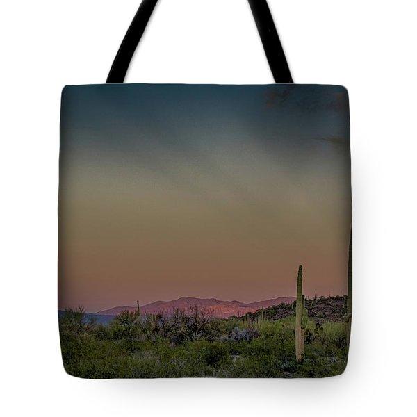 Saguaros Salute Rays Rising Tote Bag