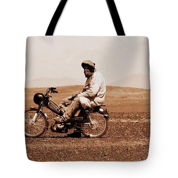 Tote Bag featuring the photograph Sahara Biker by Ramona Johnston