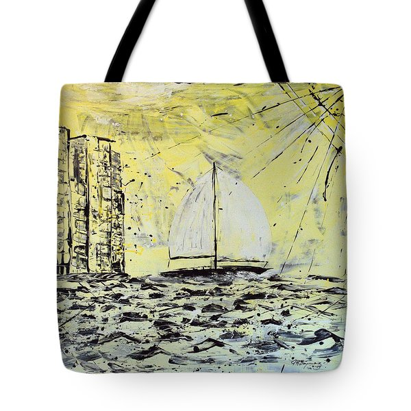 Tote Bag featuring the painting Sail And Sunrays by J R Seymour