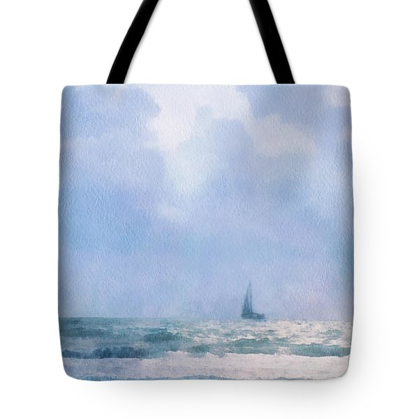Tote Bag featuring the digital art Sail At Sea by Francesa Miller