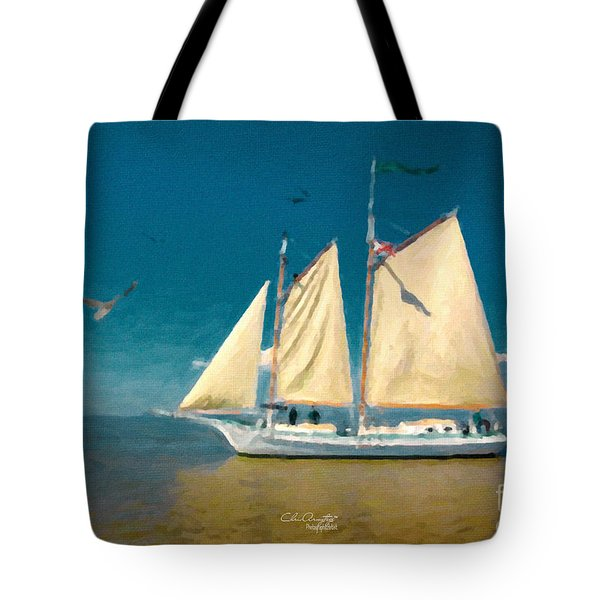 Tote Bag featuring the painting Sail Away by Chris Armytage