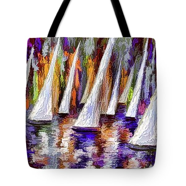 Tote Bag featuring the painting La Regata Decorative Horizontal Panorama Painting By Olena by OLena Art Brand