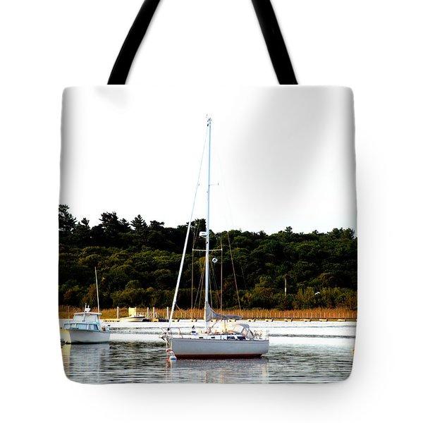 Sail Boat At Anchor  Tote Bag