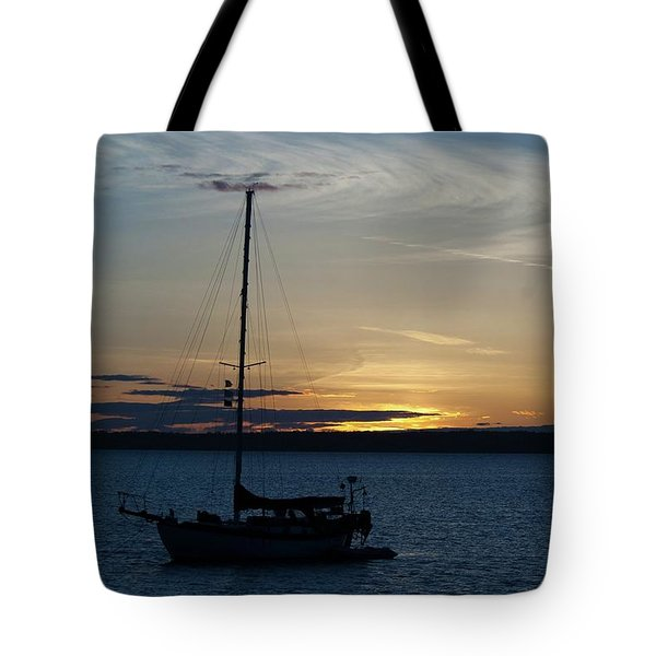 Sail Boat At Sunset Tote Bag