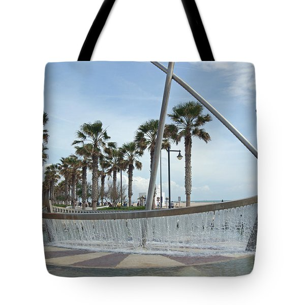 Sail Boat Fountain In Valencia Tote Bag