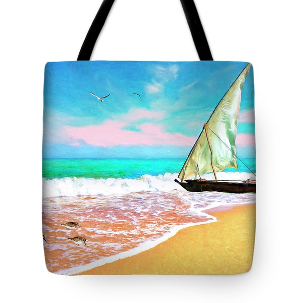 Sail Boat On The Shore Tote Bag