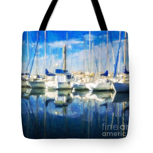 Tote Bag featuring the painting Sail Boats In Port by Chris Armytage