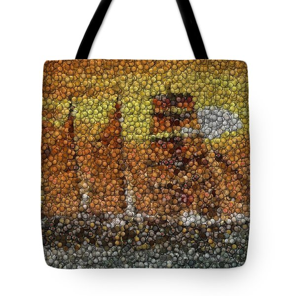 Tote Bag featuring the mixed media Sail Ship Coins Mosaic by Paul Van Scott