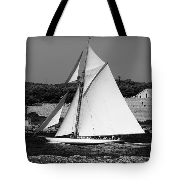 sailboat - a one mast classical vessel sailing in one of the most beautiful harbours Port Mahon Tote Bag
