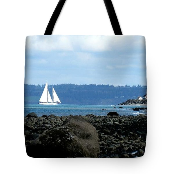 Sailboat And Lighthouse Tote Bag