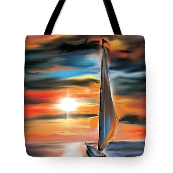 Sailboat And Sunset Tote Bag